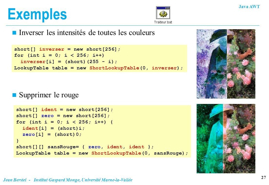 Java AWT 27 Jean Berstel - Institut Gaspard Monge, Université Marne-la-Vallée Exemples n Inverser les intensités de toutes les couleurs short[] invers