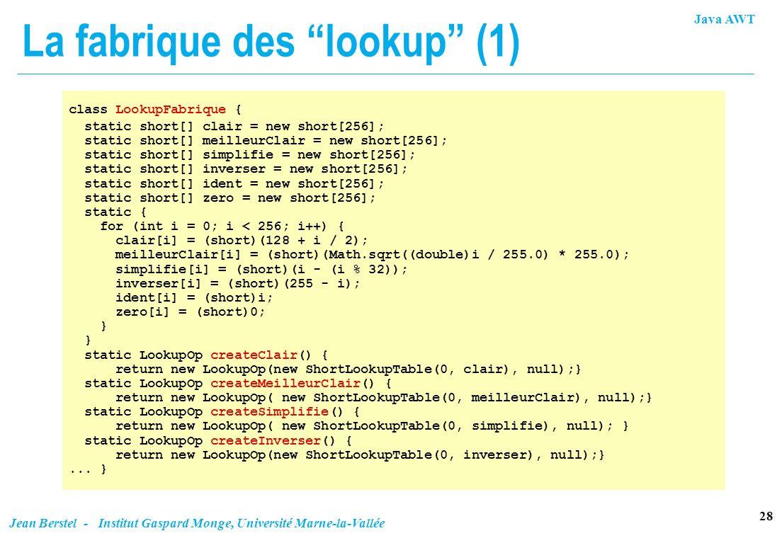 Java AWT 28 Jean Berstel - Institut Gaspard Monge, Université Marne-la-Vallée La fabrique des lookup (1) class LookupFabrique { static short[] clair =