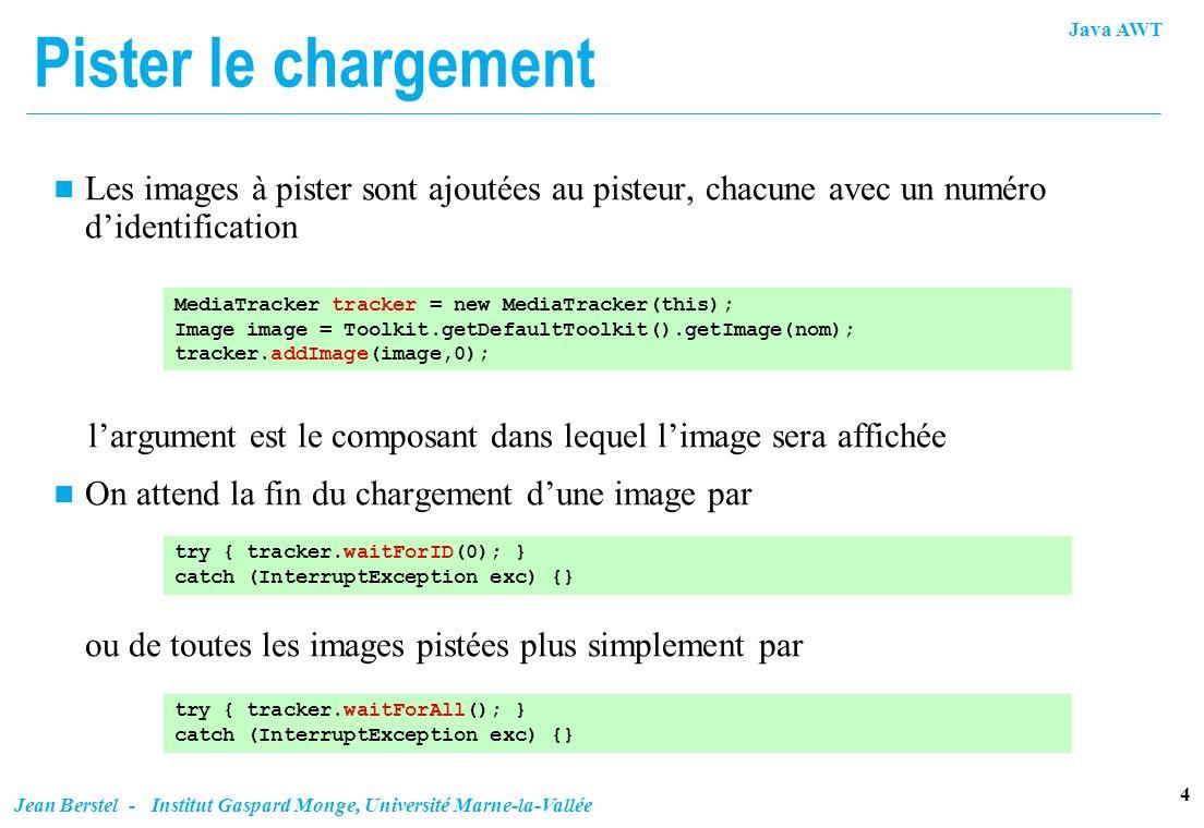 Java AWT 4 Jean Berstel - Institut Gaspard Monge, Université Marne-la-Vallée Pister le chargement n Les images à pister sont ajoutées au pisteur, chac