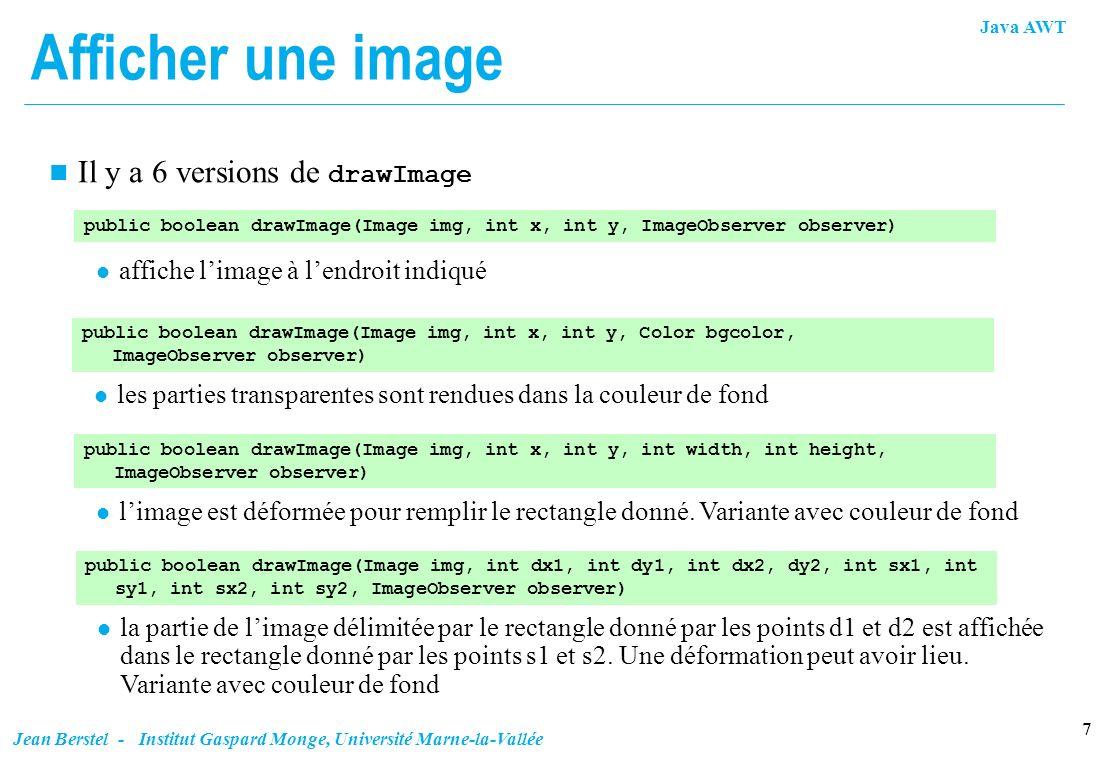 Java AWT 7 Jean Berstel - Institut Gaspard Monge, Université Marne-la-Vallée Afficher une image Il y a 6 versions de drawImage public boolean drawImag