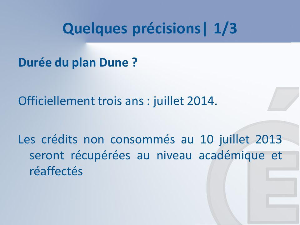 Quelques précisions| 1/3 Durée du plan Dune . Officiellement trois ans : juillet 2014.