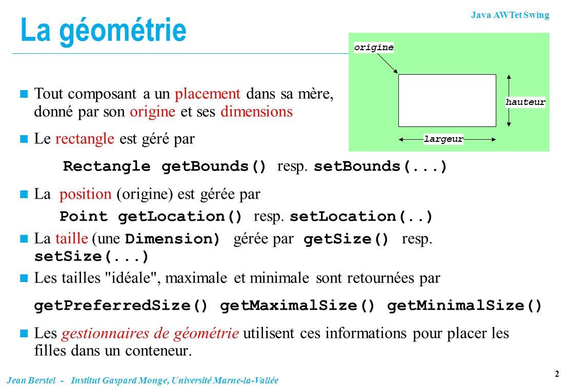 Java AWTet Swing 23 Jean Berstel - Institut Gaspard Monge, Université Marne-la-Vallée Exemple (fin) n Et pour payer gbc.gridwidth = 1; p.add(paiement,gbc); gbc.insets = new Insets(5,5,5,0); gbc.gridwidth = GridBagConstraints.REMAINDER; gbc.fill = GridBagConstraints.NONE; // anchor est WEST depuis le début modePaiement.addItem( Visa ); modePaiement.addItem( MasterCard ); modePaiement.addItem( COD ); p.add(modePaiement,gbc);