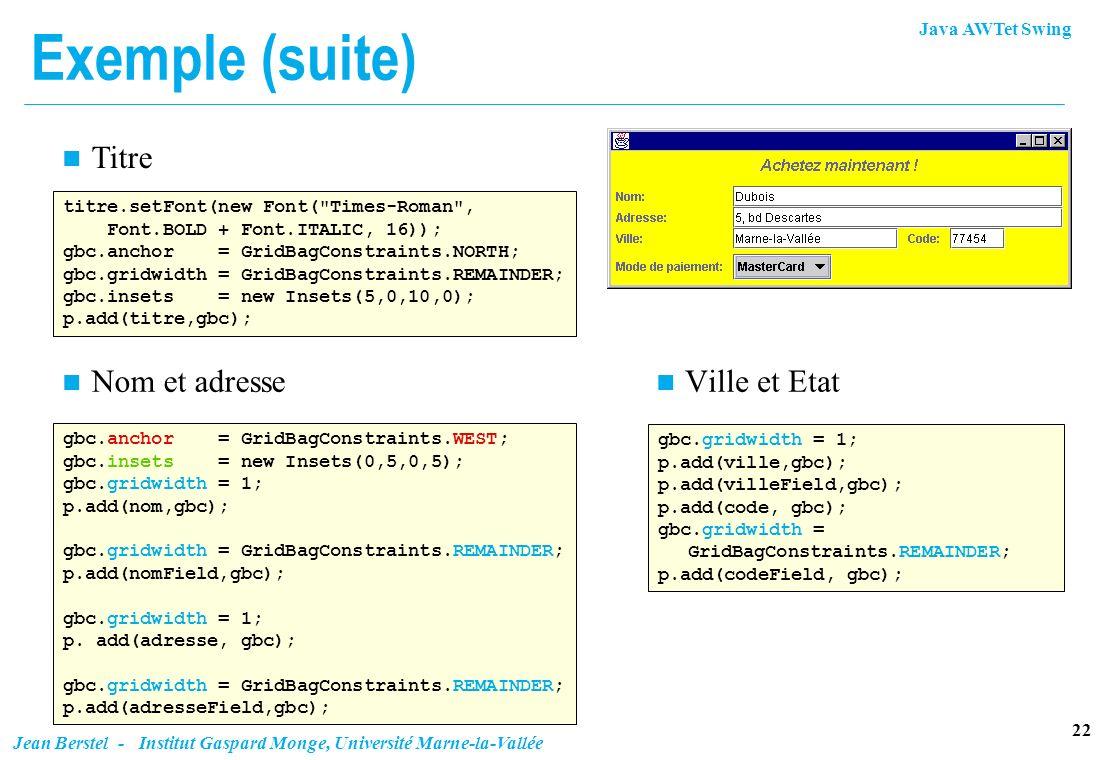 Java AWTet Swing 22 Jean Berstel - Institut Gaspard Monge, Université Marne-la-Vallée Exemple (suite) titre.setFont(new Font(
