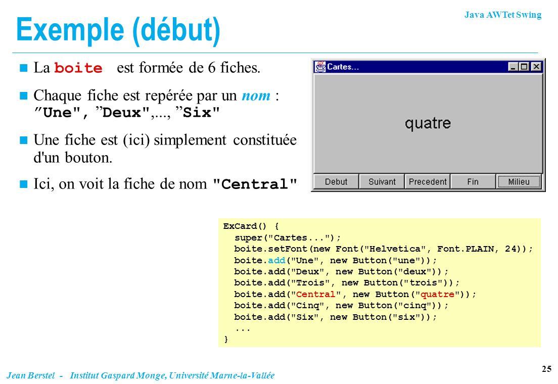 Java AWTet Swing 25 Jean Berstel - Institut Gaspard Monge, Université Marne-la-Vallée Exemple (début) ExCard() { super(