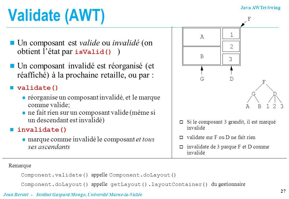 Java AWTet Swing 27 Jean Berstel - Institut Gaspard Monge, Université Marne-la-Vallée Validate (AWT) Un composant est valide ou invalidé (on obtient l