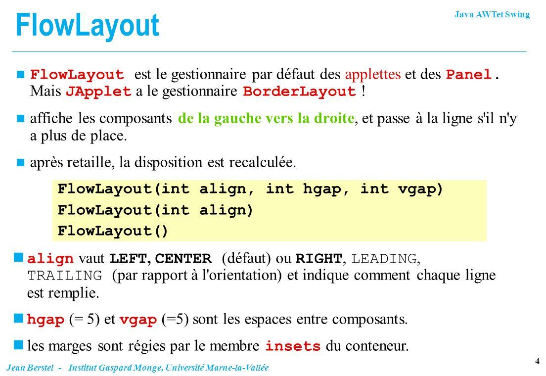 Java AWTet Swing 15 Jean Berstel - Institut Gaspard Monge, Université Marne-la-Vallée GridBagConstraints GridBagLayout gbl = new GridBagLayout(); container.setLayout(gbl); GridBagConstraints gbc = new GridBagConstraints(); gbc.anchor = GridBagConstraints.NORTH; gbc.gridwidth = GridBagConstraints.REMAINDER; Label title = new Label( Bonjour ); add(title, gbc); // ajout de title selon les contraintes gbc...