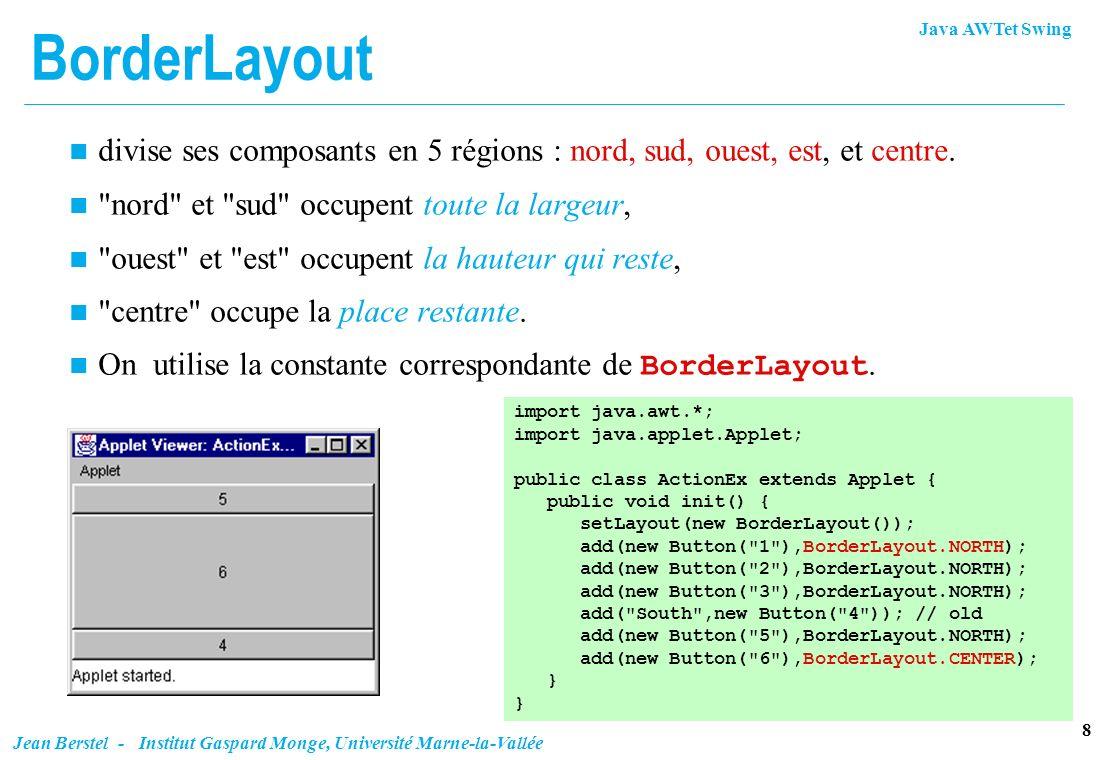 Java AWTet Swing 8 Jean Berstel - Institut Gaspard Monge, Université Marne-la-Vallée BorderLayout n divise ses composants en 5 régions : nord, sud, ou