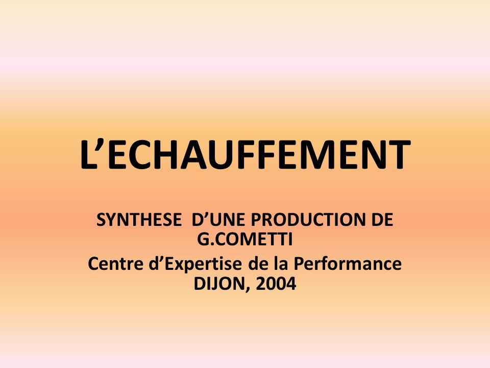LECHAUFFEMENT SYNTHESE DUNE PRODUCTION DE G.COMETTI Centre dExpertise de la Performance DIJON, 2004