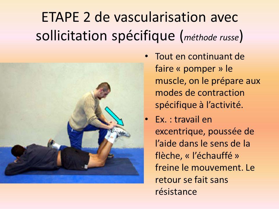 ETAPE 2 de vascularisation avec sollicitation spécifique ( méthode russe ) Tout en continuant de faire « pomper » le muscle, on le prépare aux modes d
