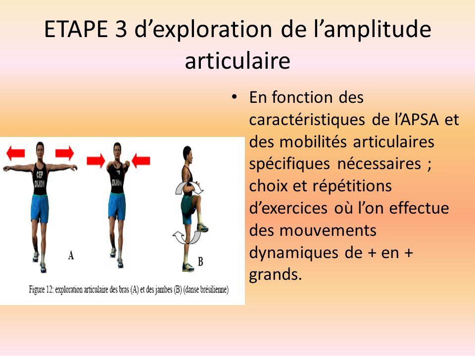 ETAPE 3 dexploration de lamplitude articulaire En fonction des caractéristiques de lAPSA et des mobilités articulaires spécifiques nécessaires ; choix