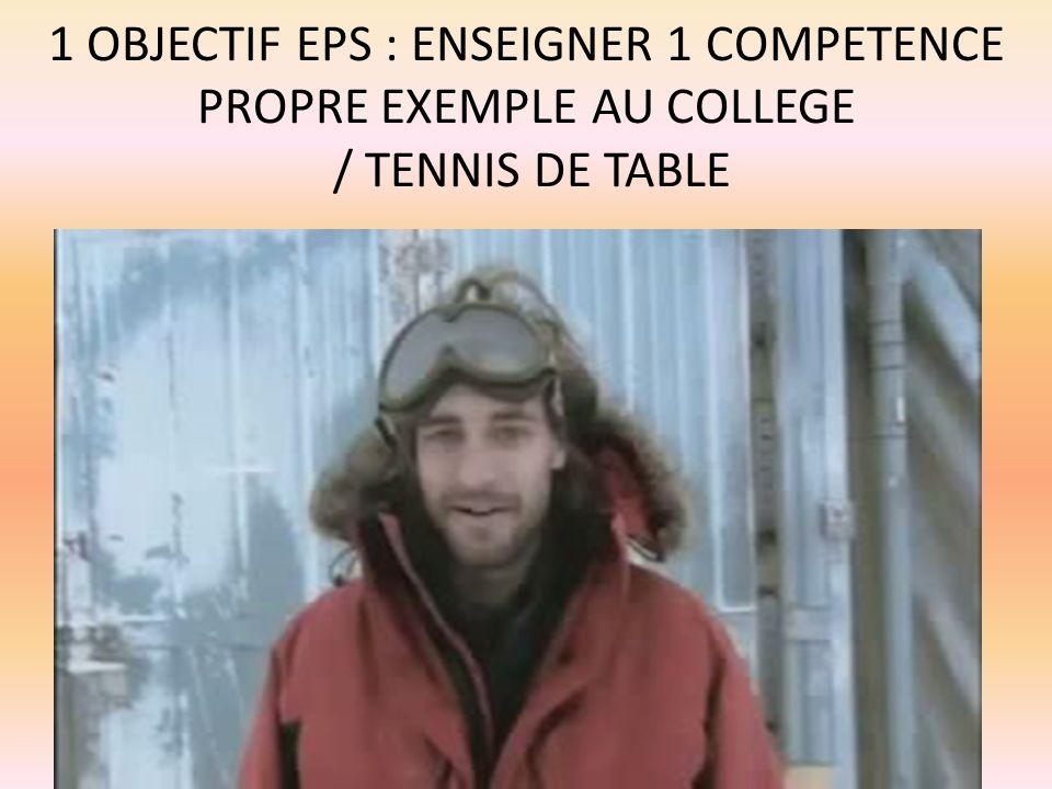 1 OBJECTIF EPS : ENSEIGNER 1 COMPETENCE PROPRE EXEMPLE AU COLLEGE / TENNIS DE TABLE