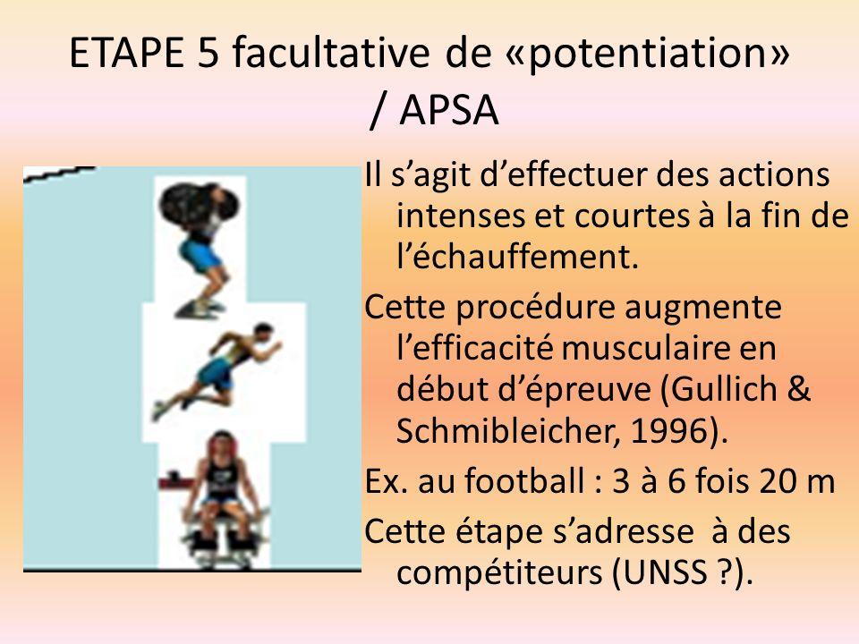 ETAPE 5 facultative de «potentiation» / APSA Il sagit deffectuer des actions intenses et courtes à la fin de léchauffement. Cette procédure augmente l