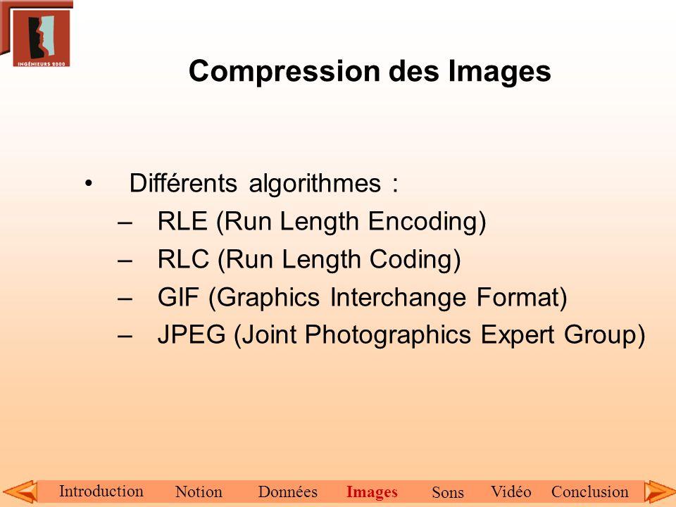 Compression des Images Différents algorithmes : –RLE (Run Length Encoding) –RLC (Run Length Coding) –GIF (Graphics Interchange Format) –JPEG (Joint Ph