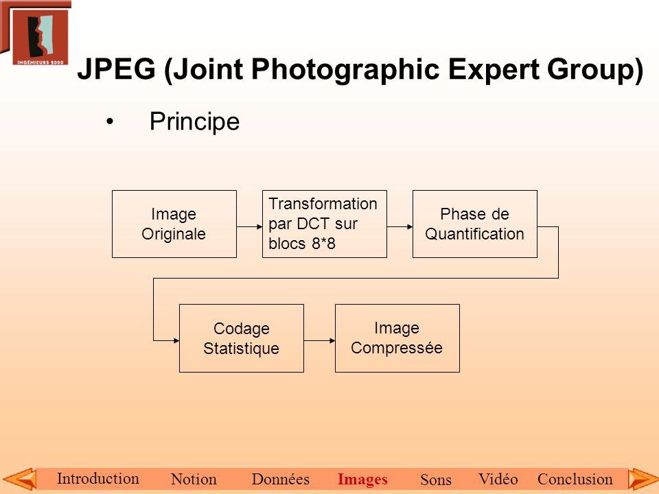 JPEG (Joint Photographic Expert Group) Principe Image Originale Transformation par DCT sur blocs 8*8 Phase de Quantification Codage Statistique Image