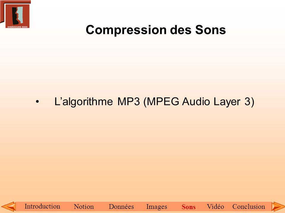 Compression des Sons Lalgorithme MP3 (MPEG Audio Layer 3) Introduction NotionDonnéesImagesConclusionVidéo Sons
