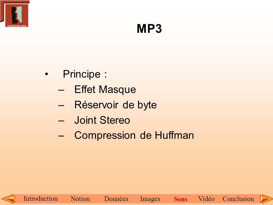 MP3 Principe : –Effet Masque –Réservoir de byte –Joint Stereo –Compression de Huffman Introduction NotionDonnéesImagesConclusionVidéo Sons