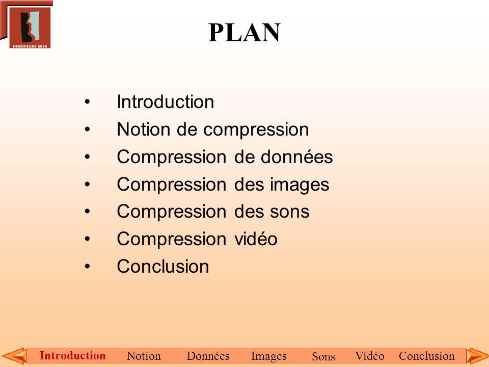 PLAN Introduction Notion de compression Compression de données Compression des images Compression des sons Compression vidéo Conclusion Introduction N