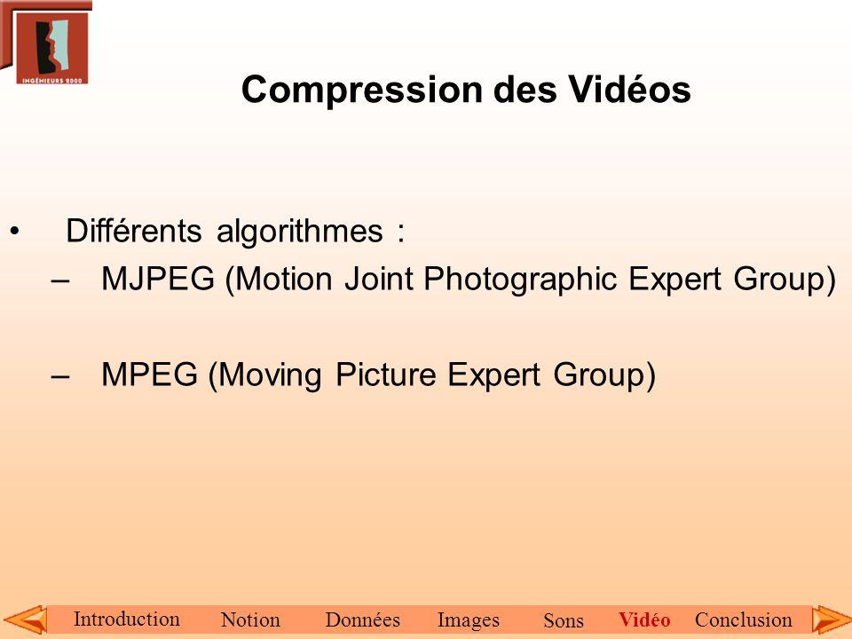 Compression des Vidéos Différents algorithmes : –MJPEG (Motion Joint Photographic Expert Group) –MPEG (Moving Picture Expert Group) Introduction Notio