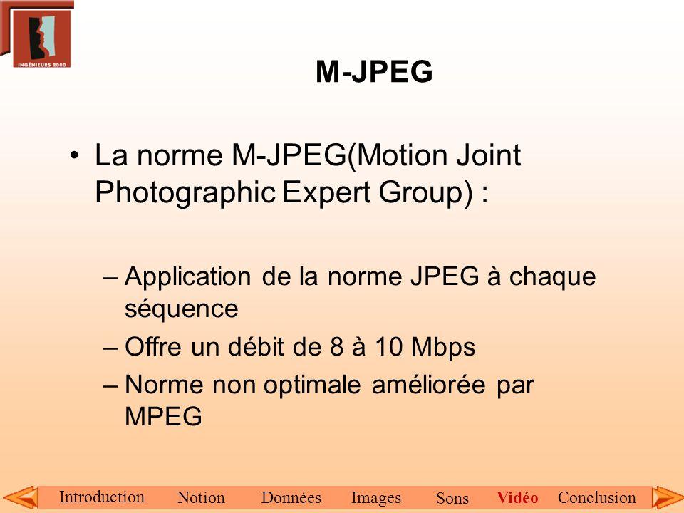 M-JPEG La norme M-JPEG(Motion Joint Photographic Expert Group) : –Application de la norme JPEG à chaque séquence –Offre un débit de 8 à 10 Mbps –Norme