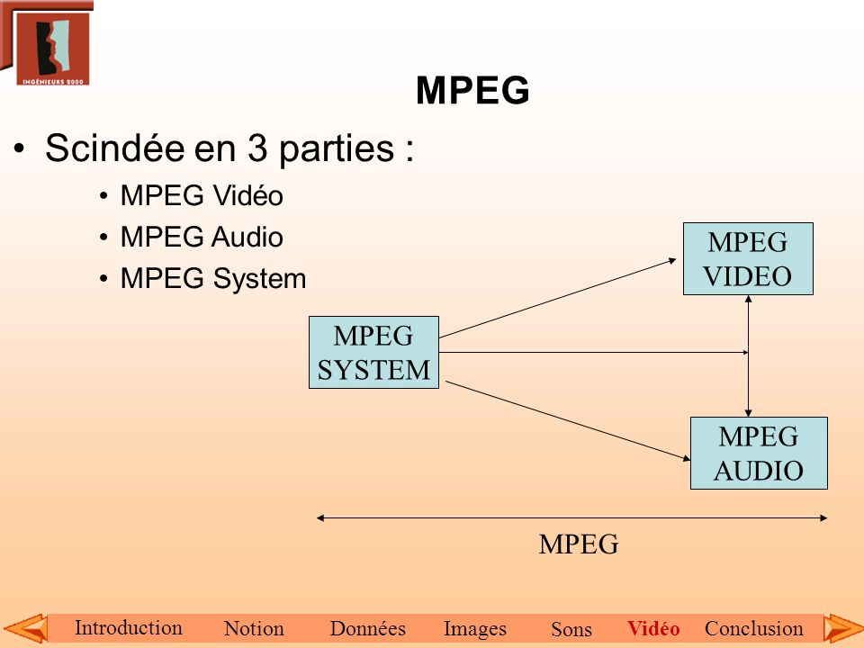 MPEG Scindée en 3 parties : MPEG Vidéo MPEG Audio MPEG System MPEG AUDIO MPEG SYSTEM MPEG VIDEO MPEG Introduction NotionDonnéesImagesConclusionVidéo S