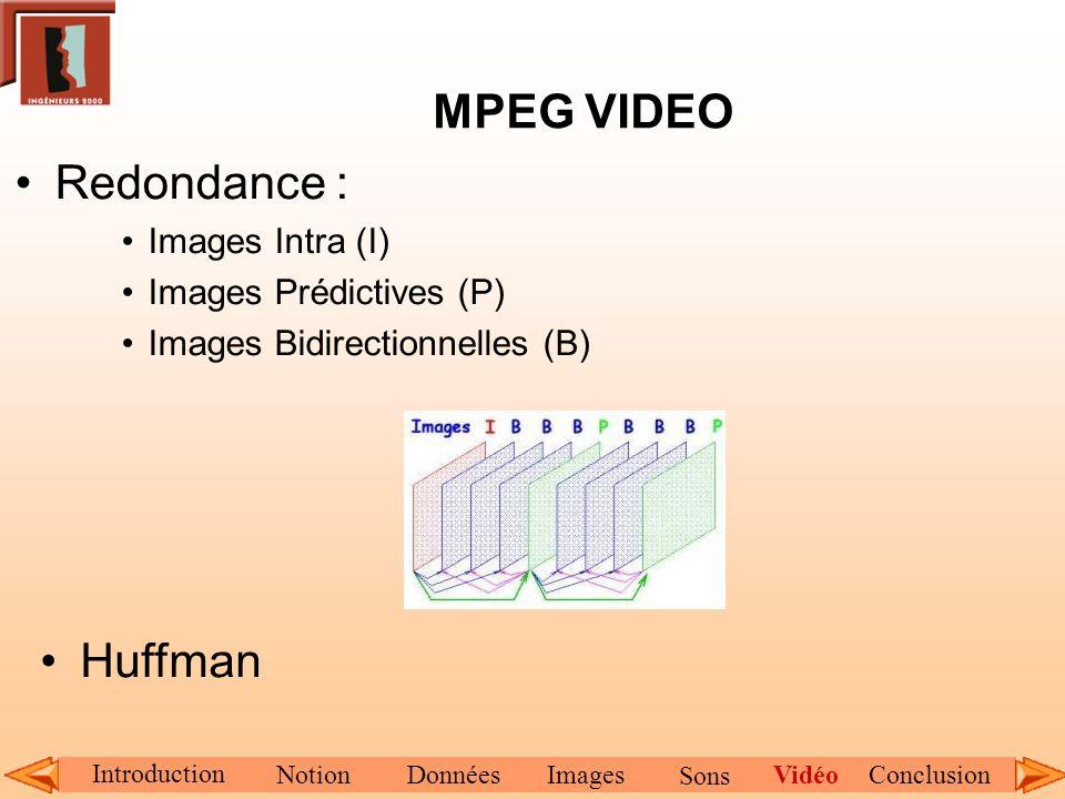 MPEG VIDEO Redondance : Images Intra (I) Images Prédictives (P) Images Bidirectionnelles (B) Huffman Introduction NotionDonnéesImagesConclusionVidéo S