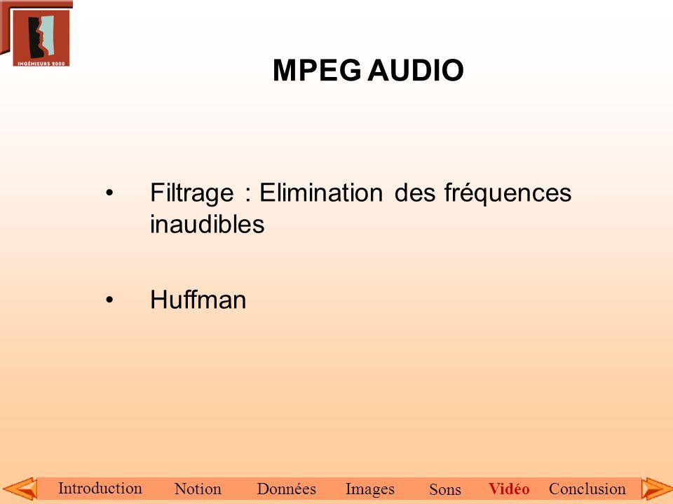 MPEG AUDIO Filtrage : Elimination des fréquences inaudibles Huffman Introduction NotionDonnéesImagesConclusionVidéo Sons