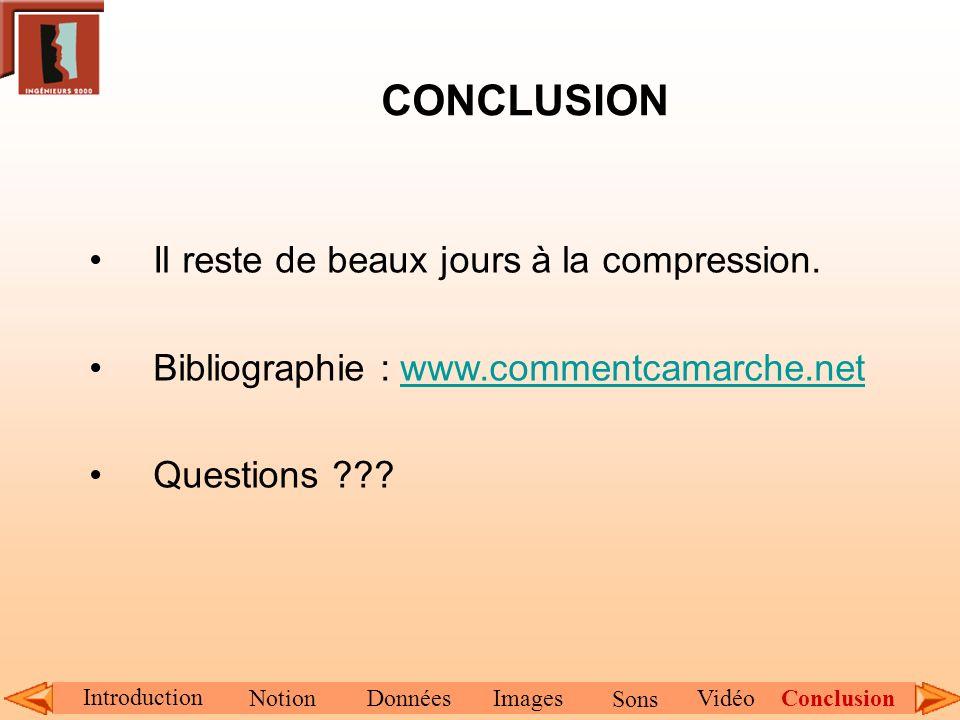 CONCLUSION Il reste de beaux jours à la compression. Bibliographie : www.commentcamarche.netwww.commentcamarche.net Questions ??? Introduction NotionD