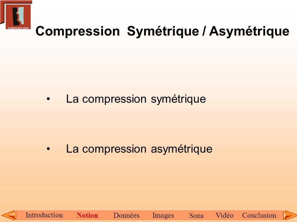 Compression Symétrique / Asymétrique La compression symétrique La compression asymétrique Introduction NotionDonnéesImagesConclusionVidéo Sons