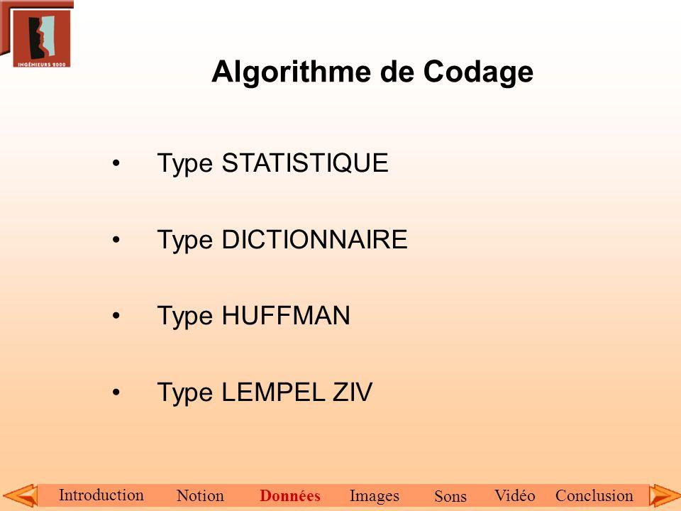 Algorithme de Codage Type STATISTIQUE Type DICTIONNAIRE Type HUFFMAN Type LEMPEL ZIV Introduction NotionDonnéesImagesConclusionVidéo Sons