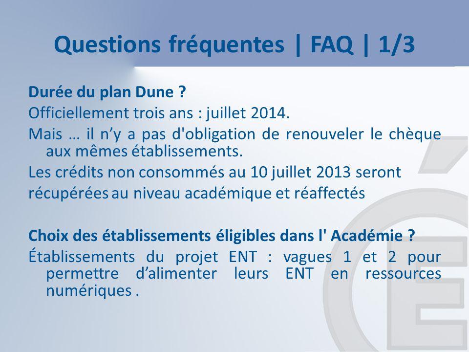 Questions fréquentes | FAQ | 1/3 Durée du plan Dune .