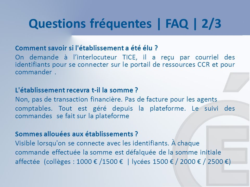 Questions fréquentes | FAQ | 2/3 Comment savoir si l établissement a été élu .