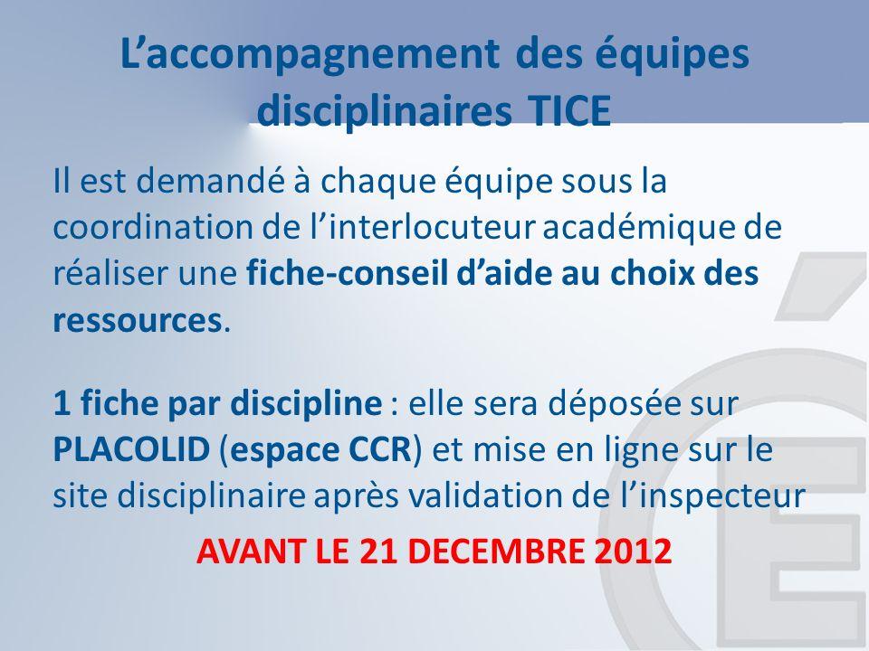 Laccompagnement des équipes disciplinaires TICE Il est demandé à chaque équipe sous la coordination de linterlocuteur académique de réaliser une fiche-conseil daide au choix des ressources.
