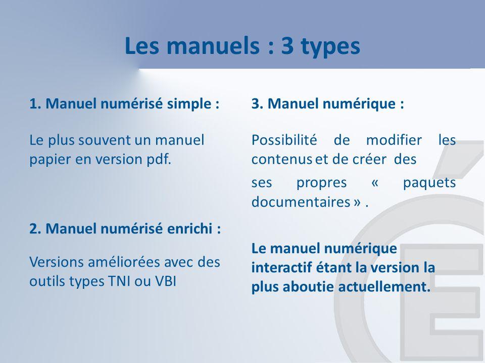 Les manuels : 3 types 1. Manuel numérisé simple : Le plus souvent un manuel papier en version pdf.