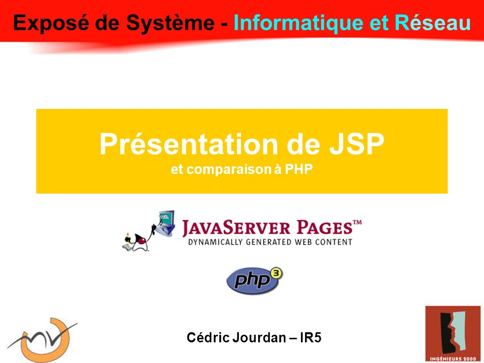 JSP Exécution - Fonctionnement Envoie de la réponse Compile la servlet JSP Charge la servlet Serveur HTTP Servlet de page JSP Servelet du compilateur de page Génère la réponse Analyse les JSP Génère le source de la servelet Servelet JSP courante.
