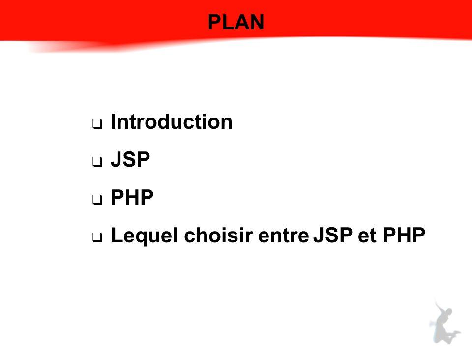 PLAN Introduction JSP PHP Lequel choisir entre JSP et PHP