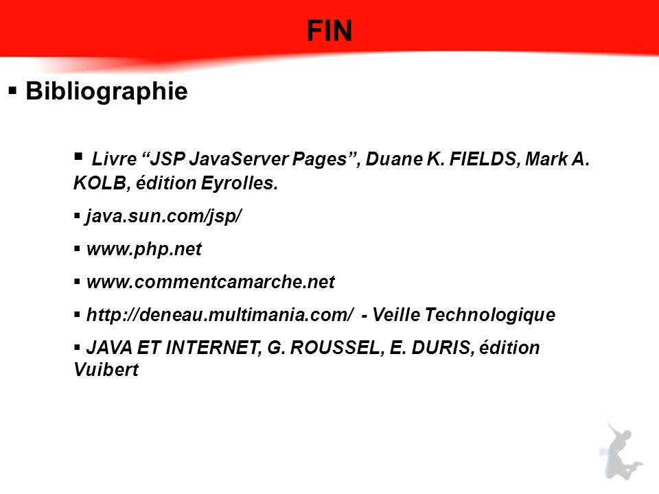 FIN Bibliographie Livre JSP JavaServer Pages, Duane K. FIELDS, Mark A. KOLB, édition Eyrolles. java.sun.com/jsp/ www.php.net www.commentcamarche.net h