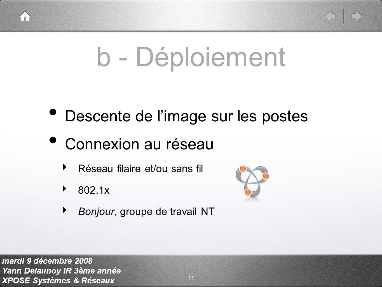 mardi 9 décembre 2008 Yann Delaunoy IR 3ème année XPOSE Systèmes & Réseaux b - Déploiement Descente de limage sur les postes Connexion au réseau Réseau filaire et/ou sans fil 802.1x Bonjour, groupe de travail NT 11