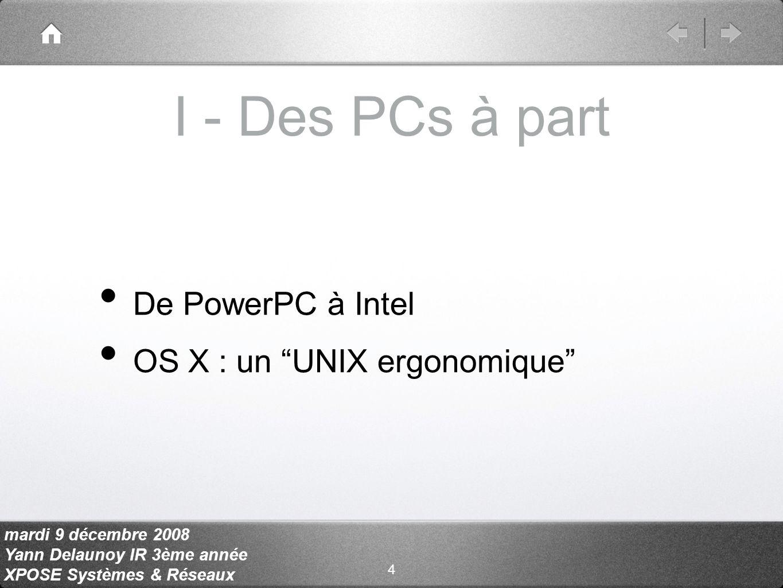 mardi 9 décembre 2008 Yann Delaunoy IR 3ème année XPOSE Systèmes & Réseaux b - Maintenance et outils 1/3 Partage des données AFP, SMB, NFS Partage décran Apple Remote Desktop, VNC 15