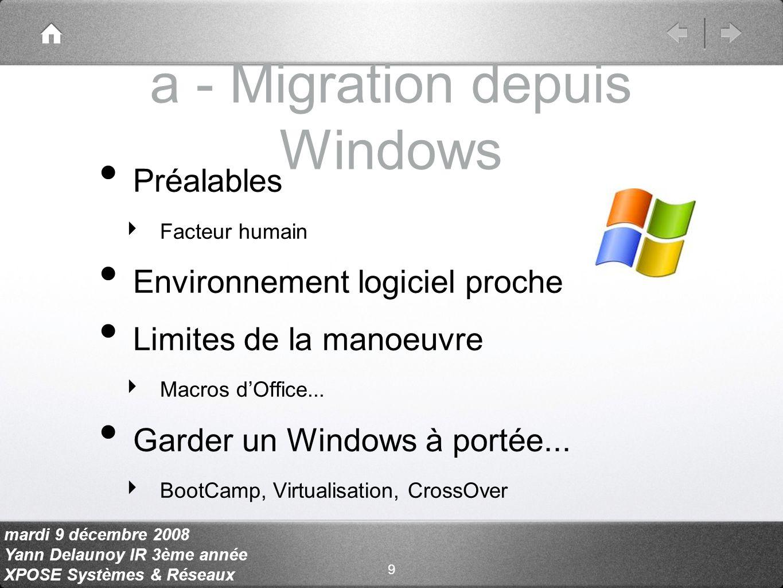 mardi 9 décembre 2008 Yann Delaunoy IR 3ème année XPOSE Systèmes & Réseaux a - Migration depuis Windows Préalables Facteur humain Environnement logiciel proche Limites de la manoeuvre Macros dOffice...