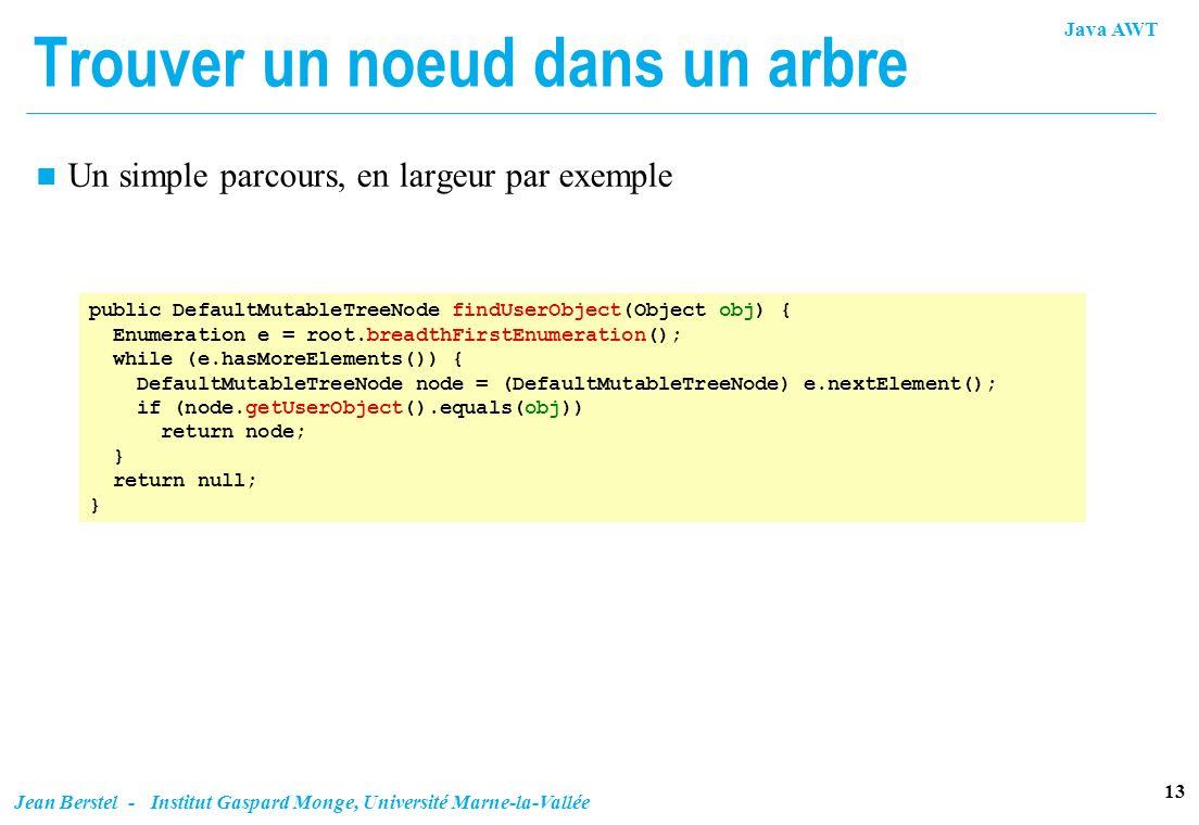 Java AWT 13 Jean Berstel - Institut Gaspard Monge, Université Marne-la-Vallée Trouver un noeud dans un arbre public DefaultMutableTreeNode findUserObj