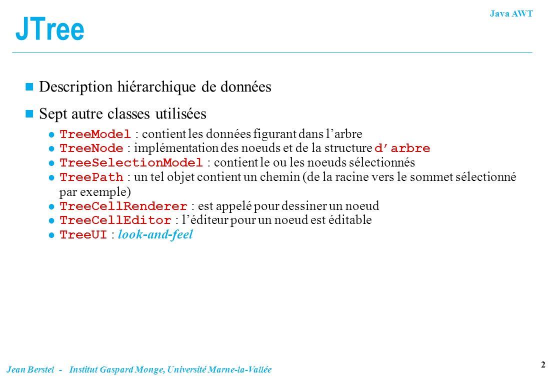 Java AWT 2 Jean Berstel - Institut Gaspard Monge, Université Marne-la-Vallée JTree n Description hiérarchique de données n Sept autre classes utilisée