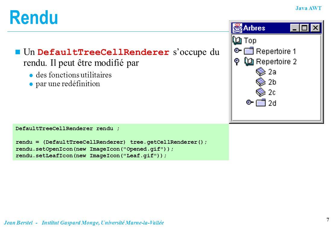 Java AWT 7 Jean Berstel - Institut Gaspard Monge, Université Marne-la-Vallée Rendu Un DefaultTreeCellRenderer soccupe du rendu. Il peut être modifié p