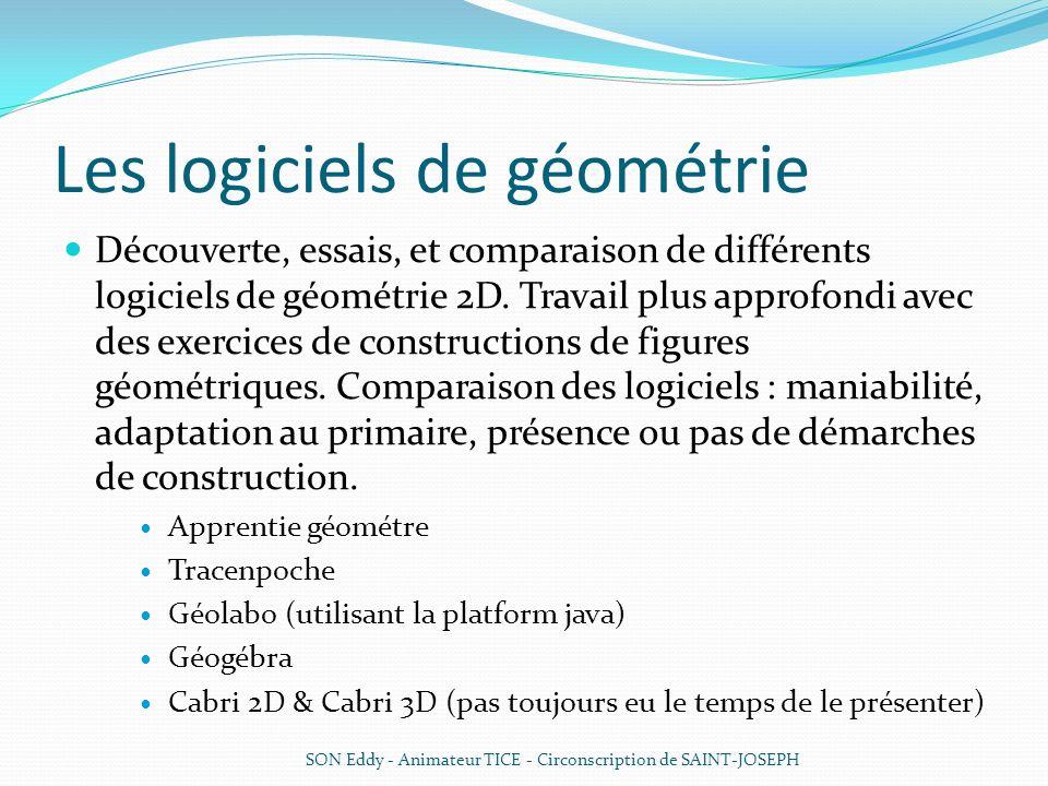 Les logiciels de géométrie Découverte, essais, et comparaison de différents logiciels de géométrie 2D. Travail plus approfondi avec des exercices de c