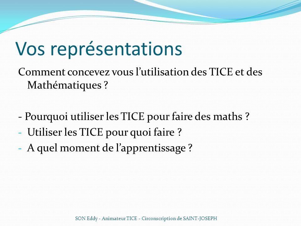 Vos représentations Comment concevez vous lutilisation des TICE et des Mathématiques ? - Pourquoi utiliser les TICE pour faire des maths ? - Utiliser