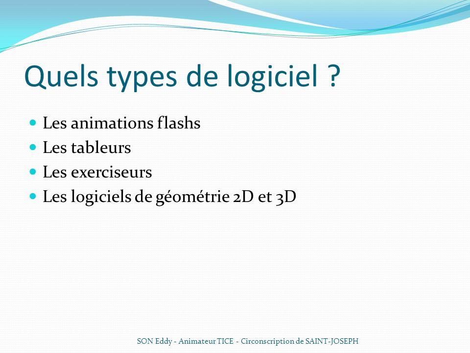 Quels types de logiciel ? Les animations flashs Les tableurs Les exerciseurs Les logiciels de géométrie 2D et 3D SON Eddy - Animateur TICE - Circonscr