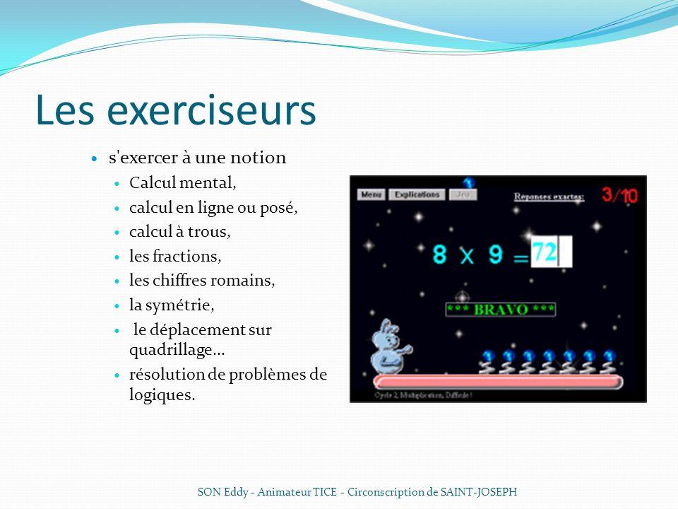 Les exerciseurs s'exercer à une notion Calcul mental, calcul en ligne ou posé, calcul à trous, les fractions, les chiffres romains, la symétrie, le dé