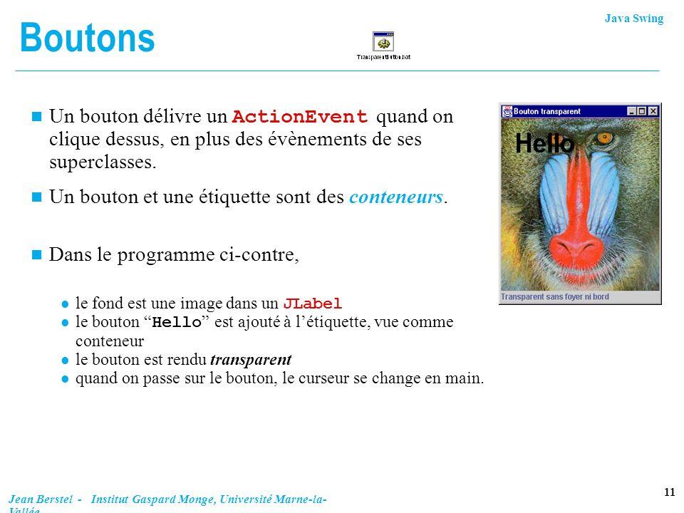 Java Swing 11 Jean Berstel - Institut Gaspard Monge, Université Marne-la- Vallée Boutons Un bouton délivre un ActionEvent quand on clique dessus, en p