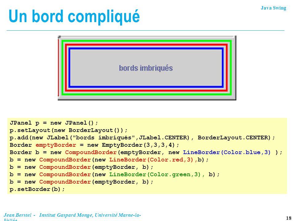 Java Swing 18 Jean Berstel - Institut Gaspard Monge, Université Marne-la- Vallée Un bord compliqué JPanel p = new JPanel(); p.setLayout(new BorderLayo