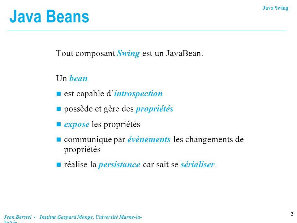Java Swing 13 Jean Berstel - Institut Gaspard Monge, Université Marne-la- Vallée Exemple de bouton (fin) void actionPerformed(ActionEvent e) { switch (state) { case 0:bouton.setOpaque(false); break; case 1:bouton.setFocusPainted(false); break; case 2:bouton.setBorderPainted(false); break; case 3:bouton.setContentAreaFilled(false); break; case 4: bouton.setOpaque(true); bouton.setFocusPainted(true); bouton.setBorderPainted(true); bouton.setContentAreaFilled(true); break; } state = (state +1) % msg.length; message.setText(msg[state]); System.out.println(state + Aille! ); } public static void main(String[] args) { TransparentButton f = new TransparentButton(); f.pack(); f.setVisible(true); f.addWindowListener(new Fermeur()); }