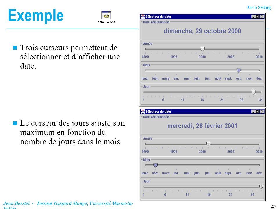Java Swing 23 Jean Berstel - Institut Gaspard Monge, Université Marne-la- Vallée Exemple n Trois curseurs permettent de sélectionner et dafficher une